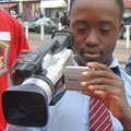 boy using video camera