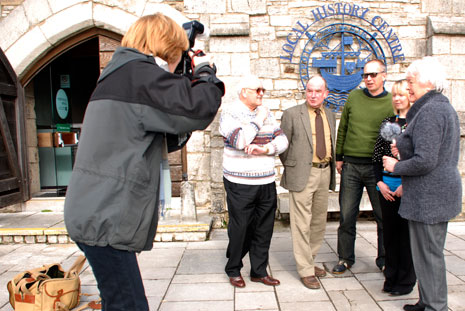 Cliff, David, Joe, Katie and Rosemary help launch the project outside Poole Museum Local History centre.